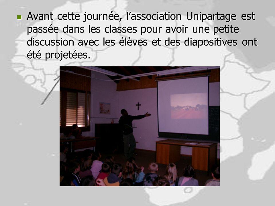 Avant cette journée, lassociation Unipartage est passée dans les classes pour avoir une petite discussion avec les élèves et des diapositives ont été