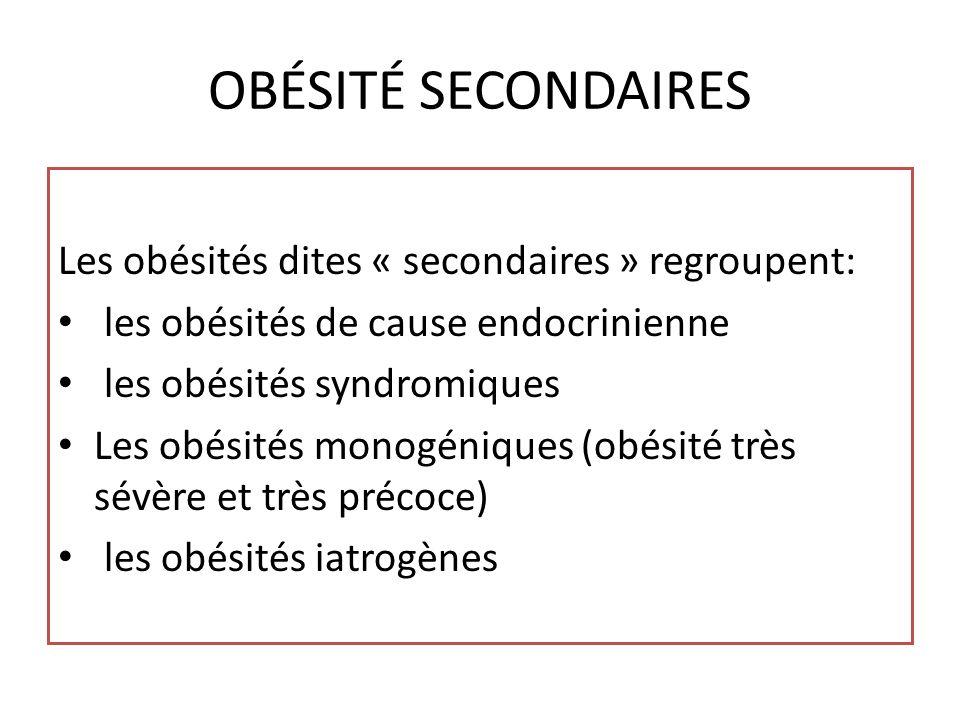 OBÉSITÉ SECONDAIRES Les obésités dites « secondaires » regroupent: les obésités de cause endocrinienne les obésités syndromiques Les obésités monogéniques (obésité très sévère et très précoce) les obésités iatrogènes
