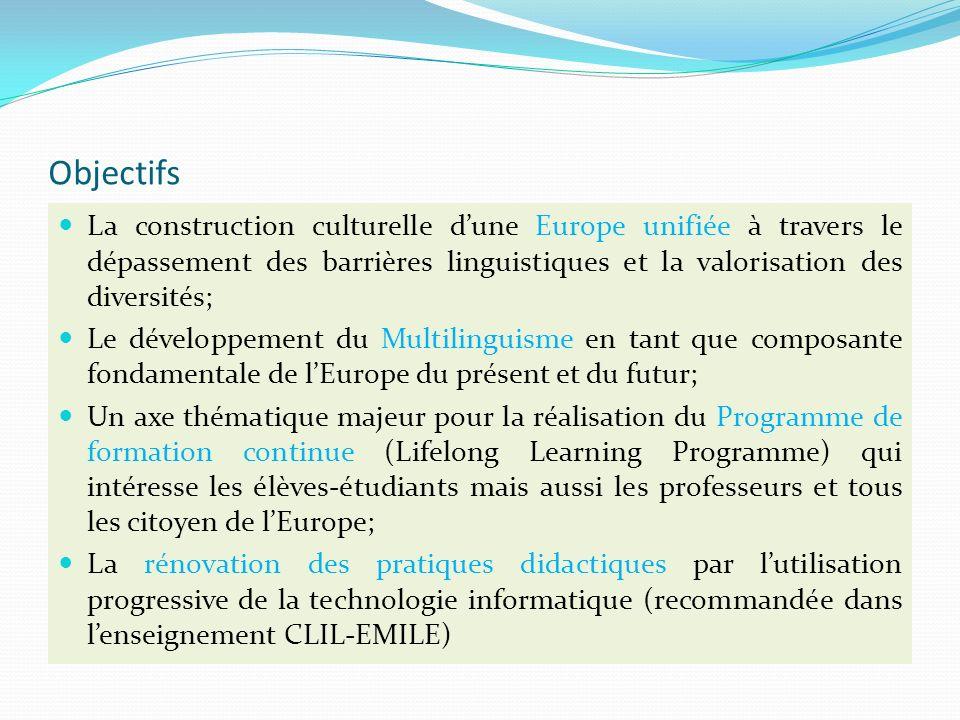 Objectifs La construction culturelle dune Europe unifiée à travers le dépassement des barrières linguistiques et la valorisation des diversités; Le développement du Multilinguisme en tant que composante fondamentale de lEurope du présent et du futur; Un axe thématique majeur pour la réalisation du Programme de formation continue (Lifelong Learning Programme) qui intéresse les élèves-étudiants mais aussi les professeurs et tous les citoyen de lEurope; La rénovation des pratiques didactiques par lutilisation progressive de la technologie informatique (recommandée dans lenseignement CLIL-EMILE)