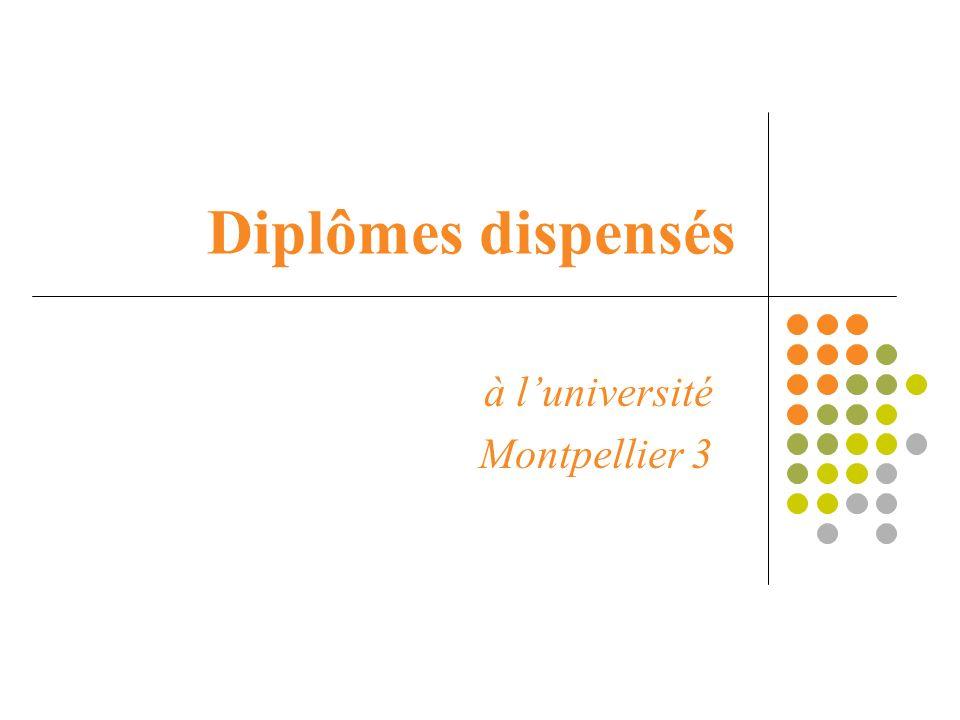Diplômes dispensés à luniversité Montpellier 3