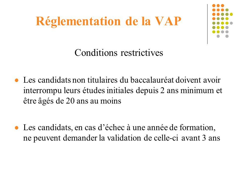 Réglementation de la VAP Conditions restrictives Les candidats non titulaires du baccalauréat doivent avoir interrompu leurs études initiales depuis 2