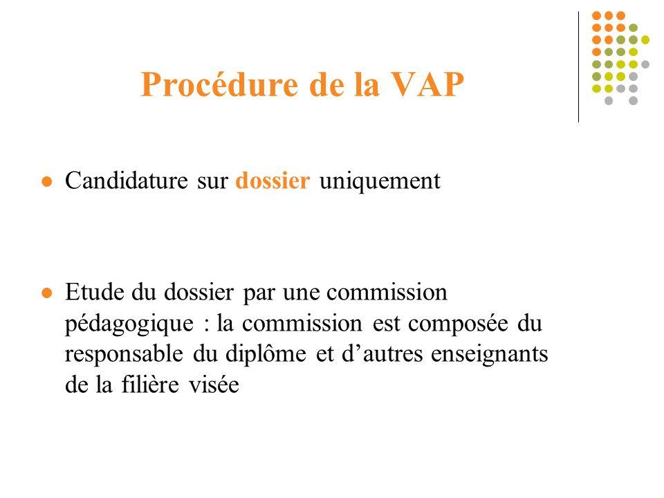 Procédure de la VAP Candidature sur dossier uniquement Etude du dossier par une commission pédagogique : la commission est composée du responsable du