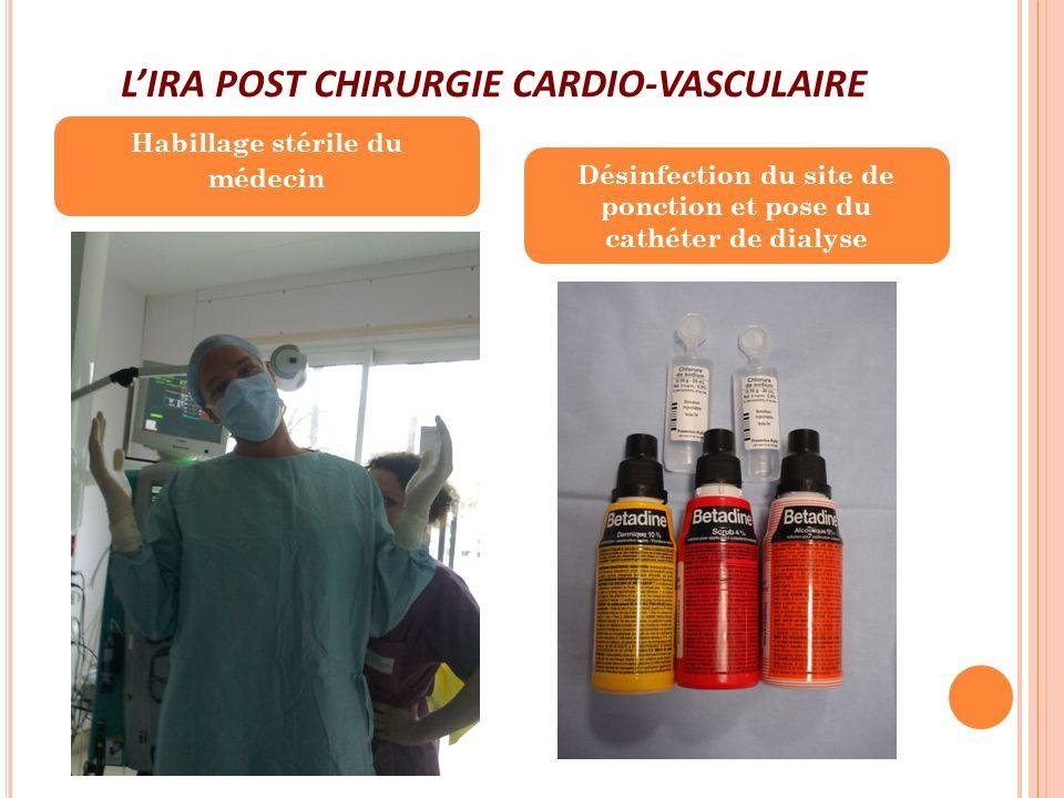LIRA POST CHIRURGIE CARDIO-VASCULAIRE Habillage stérile du médecin Désinfection du site de ponction et pose du cathéter de dialyse