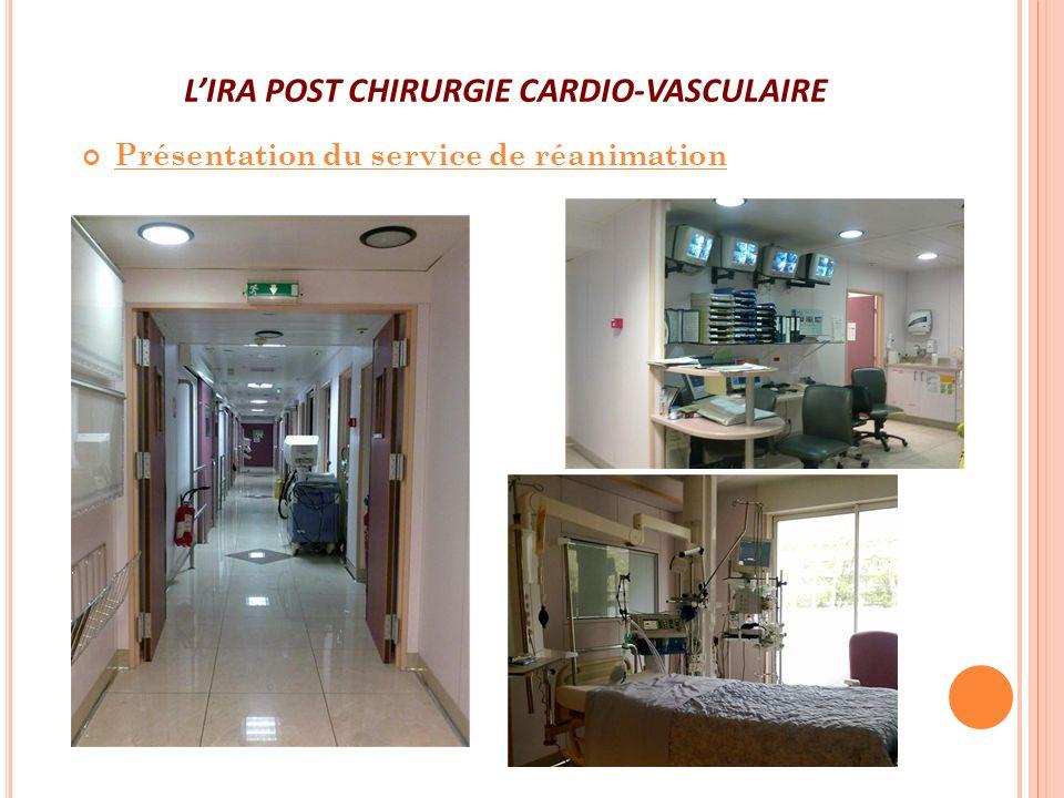 LIRA POST CHIRURGIE CARDIO-VASCULAIRE Présentation du service de réanimation