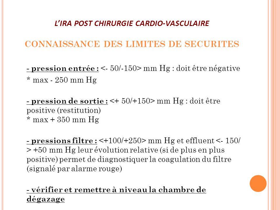 LIRA POST CHIRURGIE CARDIO-VASCULAIRE CONNAISSANCE DES LIMITES DE SECURITES - pression entrée : mm Hg : doit être négative * max - 250 mm Hg - pressio