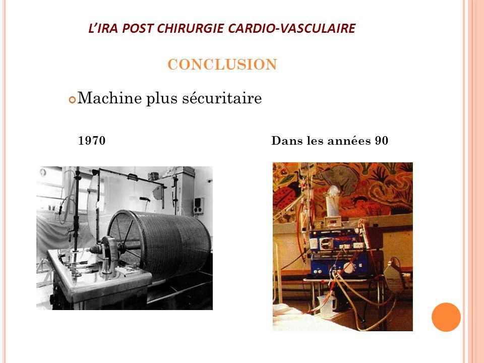 LIRA POST CHIRURGIE CARDIO-VASCULAIRE CONCLUSION Machine plus sécuritaire 1970Dans les années 90