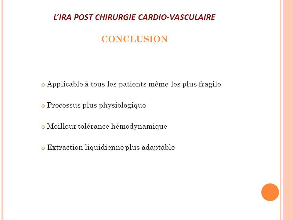 LIRA POST CHIRURGIE CARDIO-VASCULAIRE CONCLUSION Applicable à tous les patients même les plus fragile Processus plus physiologique Meilleur tolérance