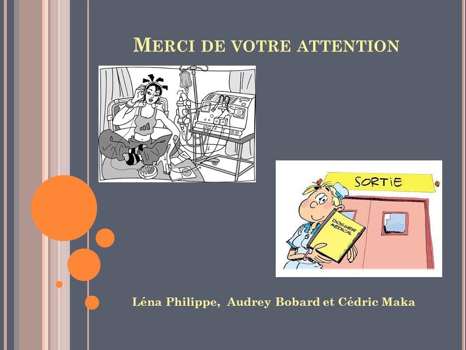 M ERCI DE VOTRE ATTENTION Léna Philippe, Audrey Bobard et Cédric Maka