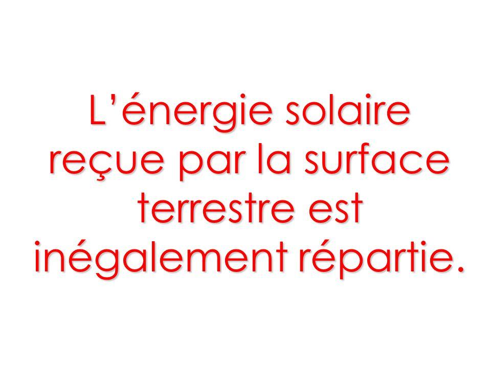 Lénergie solaire reçue par la surface terrestre est inégalement répartie.