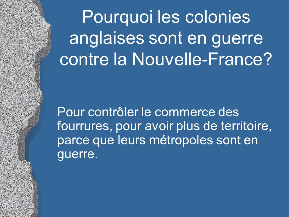Pourquoi les colonies anglaises sont en guerre contre la Nouvelle-France? Pour contrôler le commerce des fourrures, pour avoir plus de territoire, par