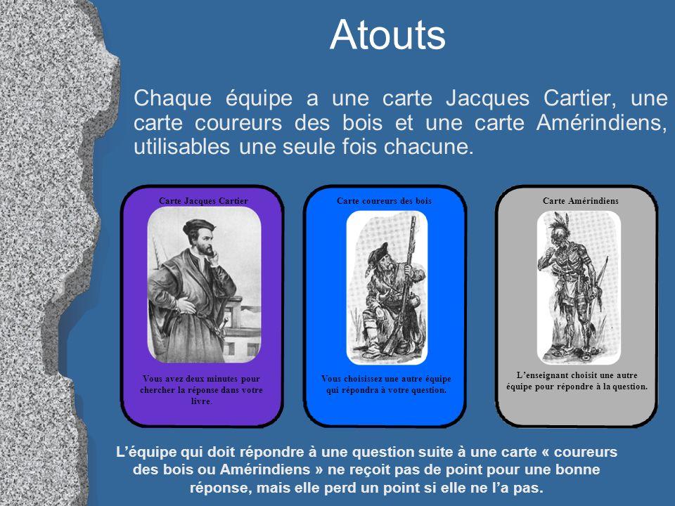 Atouts Chaque équipe a une carte Jacques Cartier, une carte coureurs des bois et une carte Amérindiens, utilisables une seule fois chacune.