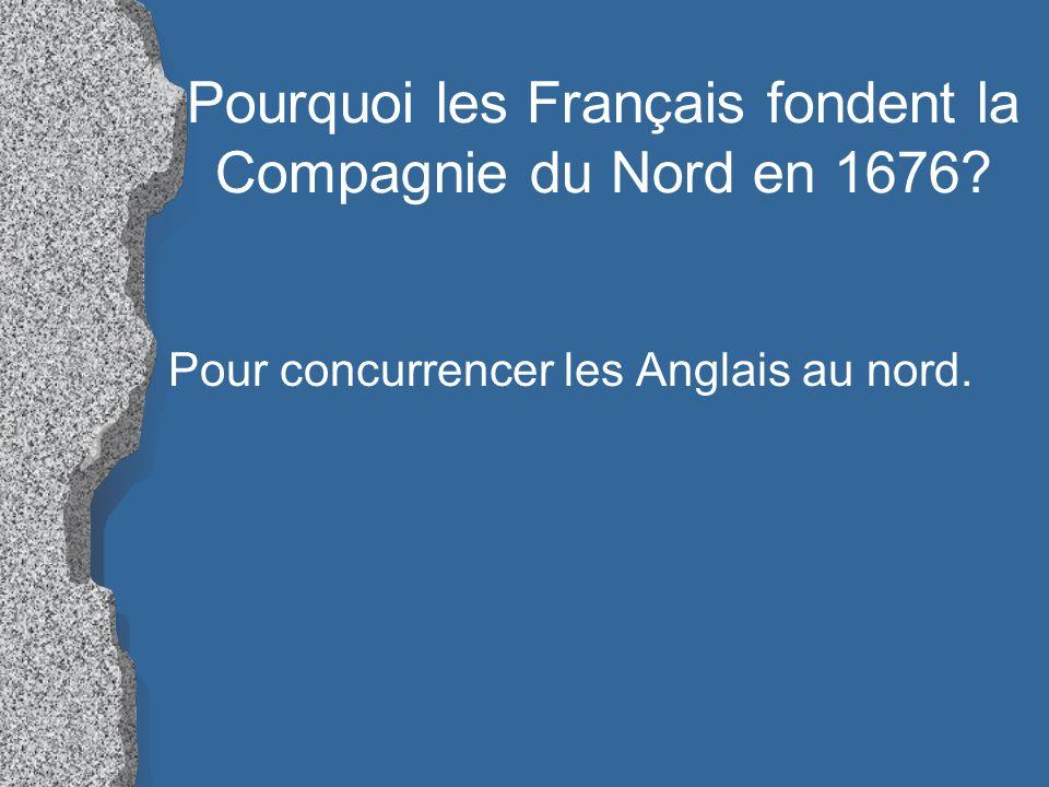 Pourquoi les Français fondent la Compagnie du Nord en 1676? Pour concurrencer les Anglais au nord.