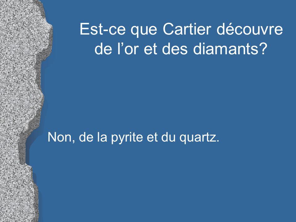 Est-ce que Cartier découvre de lor et des diamants? Non, de la pyrite et du quartz.