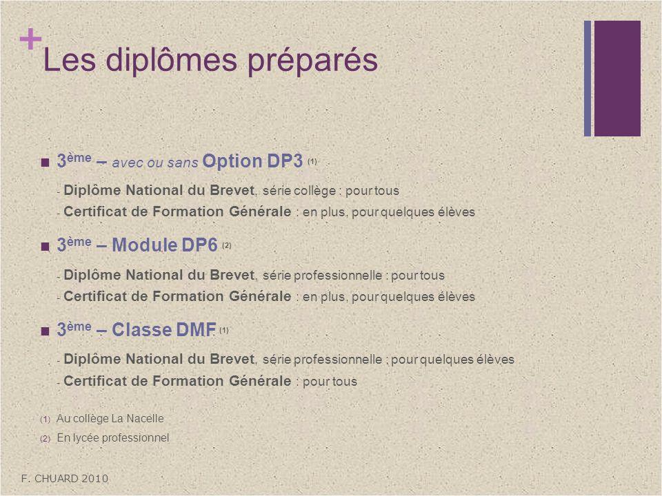 + Les diplômes préparés 3 ème – avec ou sans Option DP3 (1) - Diplôme National du Brevet, série collège : pour tous - Certificat de Formation Générale