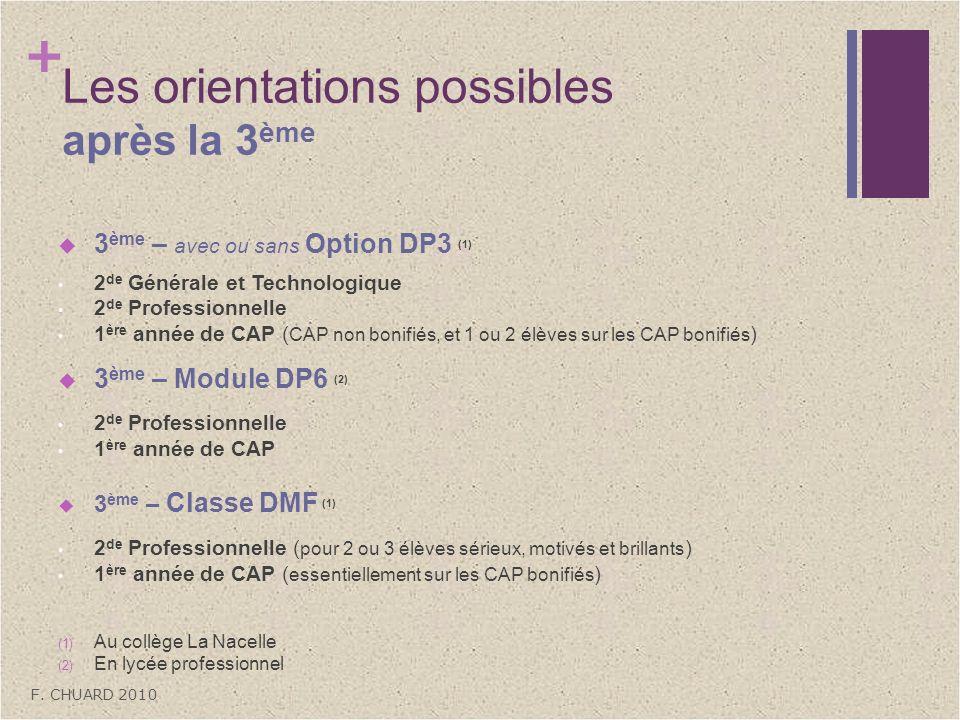 + Les orientations possibles après la 3 ème 3 ème – avec ou sans Option DP3 (1) 2 de Générale et Technologique 2 de Professionnelle 1 ère année de CAP
