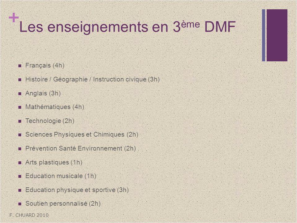 + Les enseignements en 3 ème DMF Français (4h) Histoire / Géographie / Instruction civique (3h) Anglais (3h) Mathématiques (4h) Technologie (2h) Scien