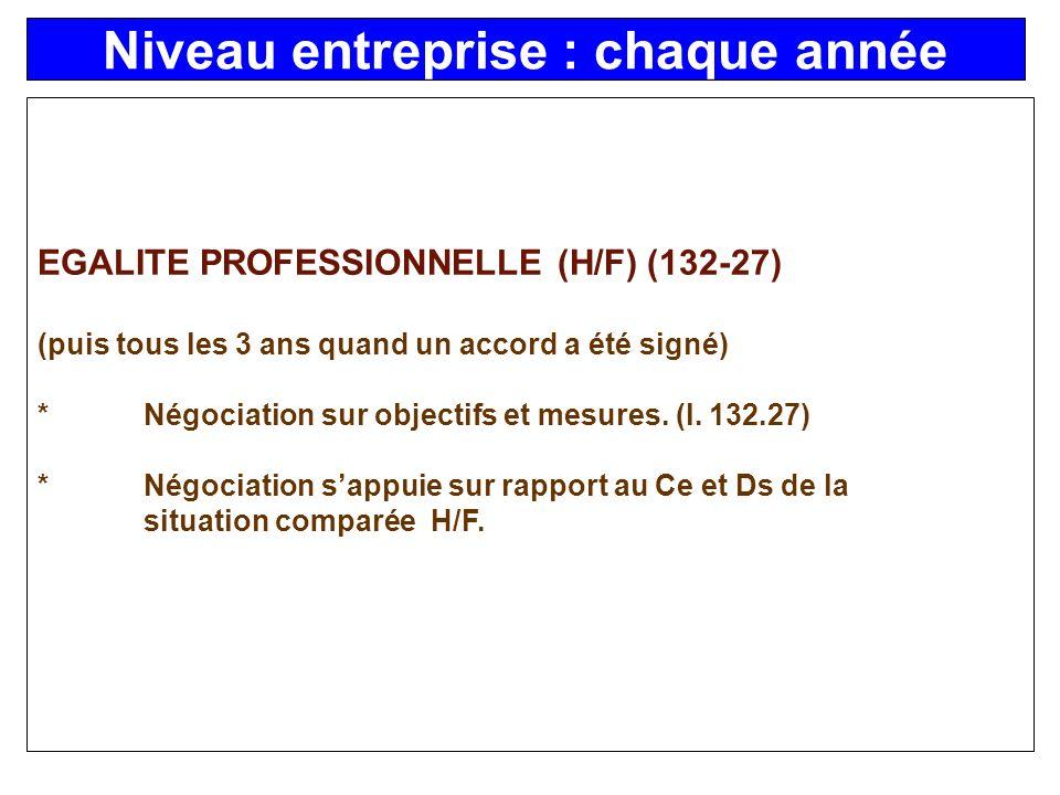 EGALITE PROFESSIONNELLE (H/F) (132-27) (puis tous les 3 ans quand un accord a été signé) *Négociation sur objectifs et mesures.