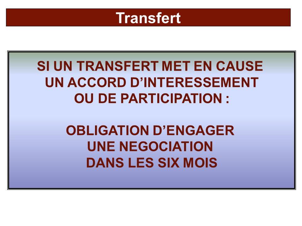 SI UN TRANSFERT MET EN CAUSE UN ACCORD DINTERESSEMENT OU DE PARTICIPATION : OBLIGATION DENGAGER UNE NEGOCIATION DANS LES SIX MOIS Transfert