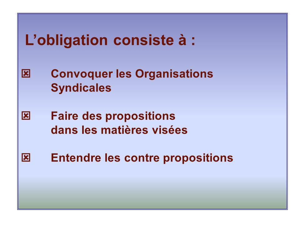 Lobligation consiste à : Convoquer les Organisations Syndicales Faire des propositions dans les matières visées Entendre les contre propositions
