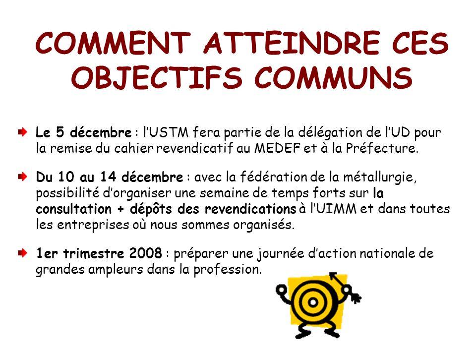 Le 5 décembre : lUSTM fera partie de la délégation de lUD pour la remise du cahier revendicatif au MEDEF et à la Préfecture.
