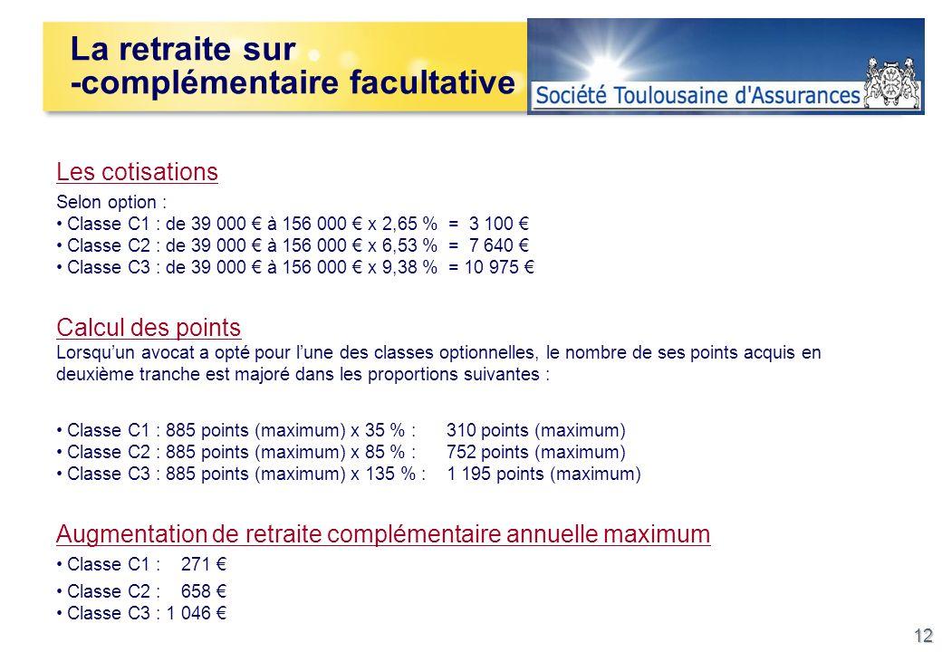 12 Les cotisations Selon option : Classe C1 : de 39 000 à 156 000 x 2,65 % = 3 100 Classe C2 : de 39 000 à 156 000 x 6,53 % = 7 640 Classe C3 : de 39