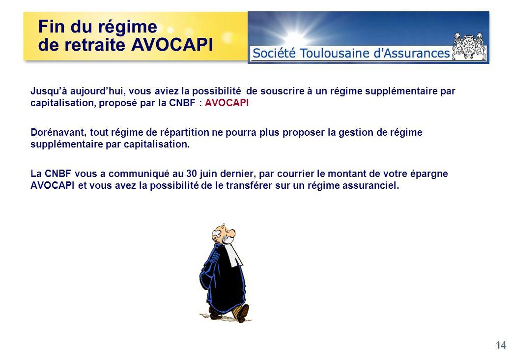 14 Jusquà aujourdhui, vous aviez la possibilité de souscrire à un régime supplémentaire par capitalisation, proposé par la CNBF : AVOCAPI Dorénavant,