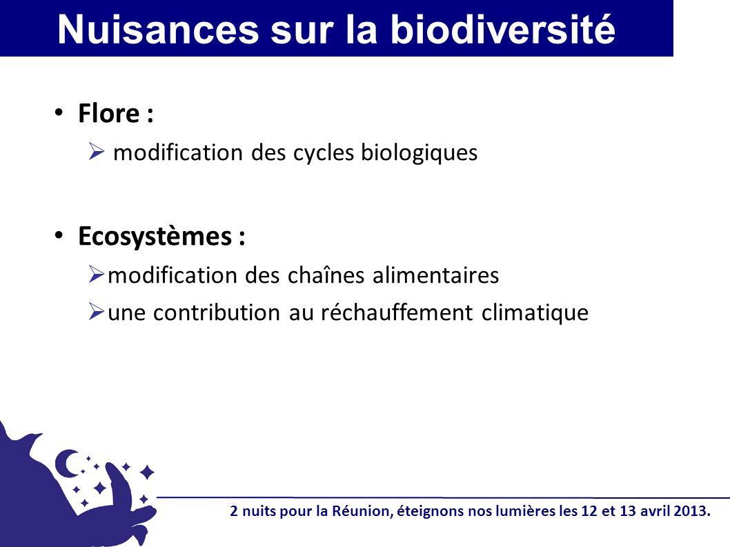 Flore : modification des cycles biologiques Ecosystèmes : modification des chaînes alimentaires une contribution au réchauffement climatique Nuisances sur la biodiversité 2 nuits pour la Réunion, éteignons nos lumières les 12 et 13 avril 2013.