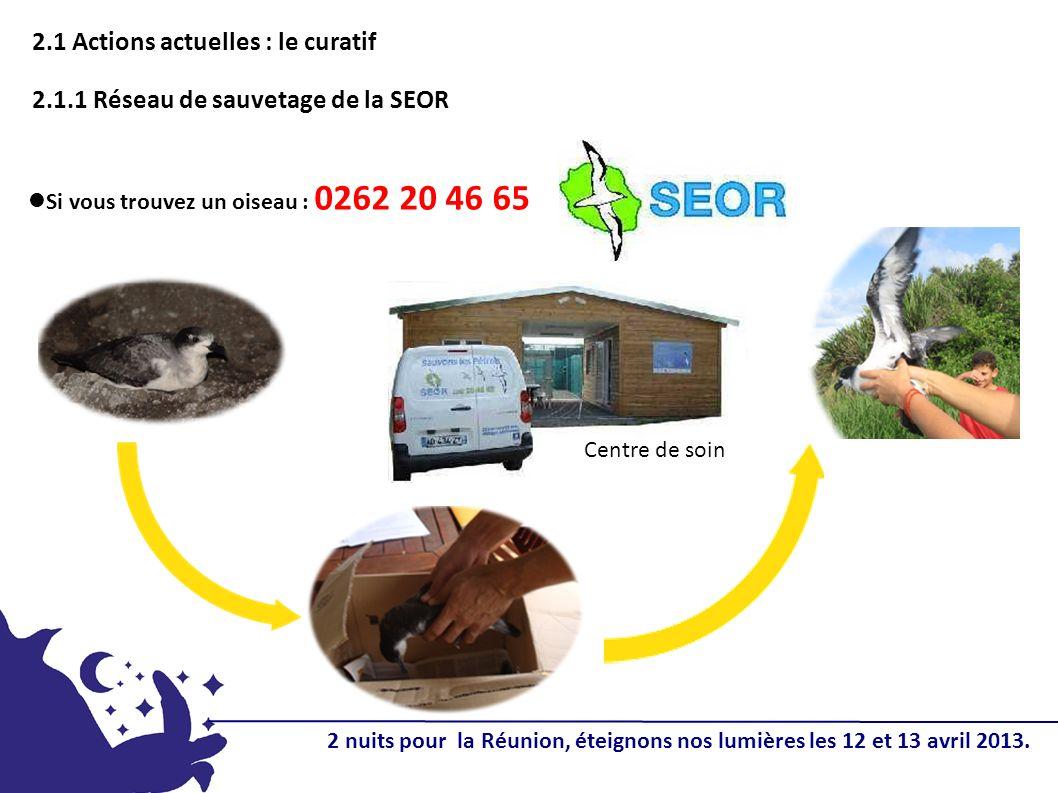 2.1 Actions actuelles : le curatif 2.1.1 Réseau de sauvetage de la SEOR Centre de soin Si vous trouvez un oiseau : 0262 20 46 65 2 nuits pour la Réunion, éteignons nos lumières les 12 et 13 avril 2013.