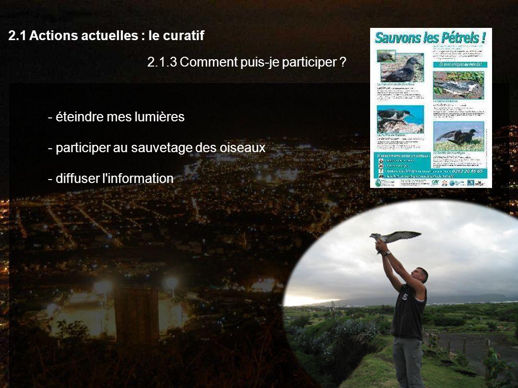 2.1 Actions actuelles : le curatif 2.1.3 Comment puis-je participer ? - éteindre mes lumières - participer au sauvetage des oiseaux - diffuser l'infor