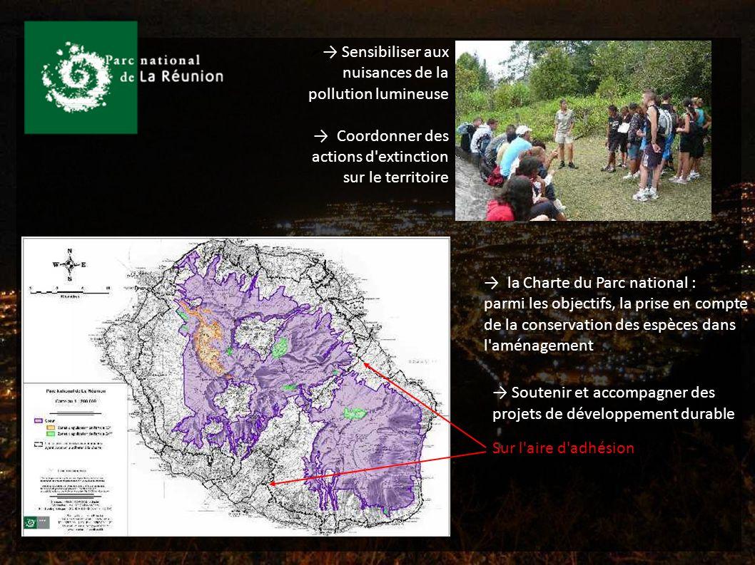 Sensibiliser aux nuisances de la pollution lumineuse Coordonner des actions d extinction sur le territoire la Charte du Parc national : parmi les objectifs, la prise en compte de la conservation des espèces dans l aménagement Sur l aire d adhésion Soutenir et accompagner des projets de développement durable - outil