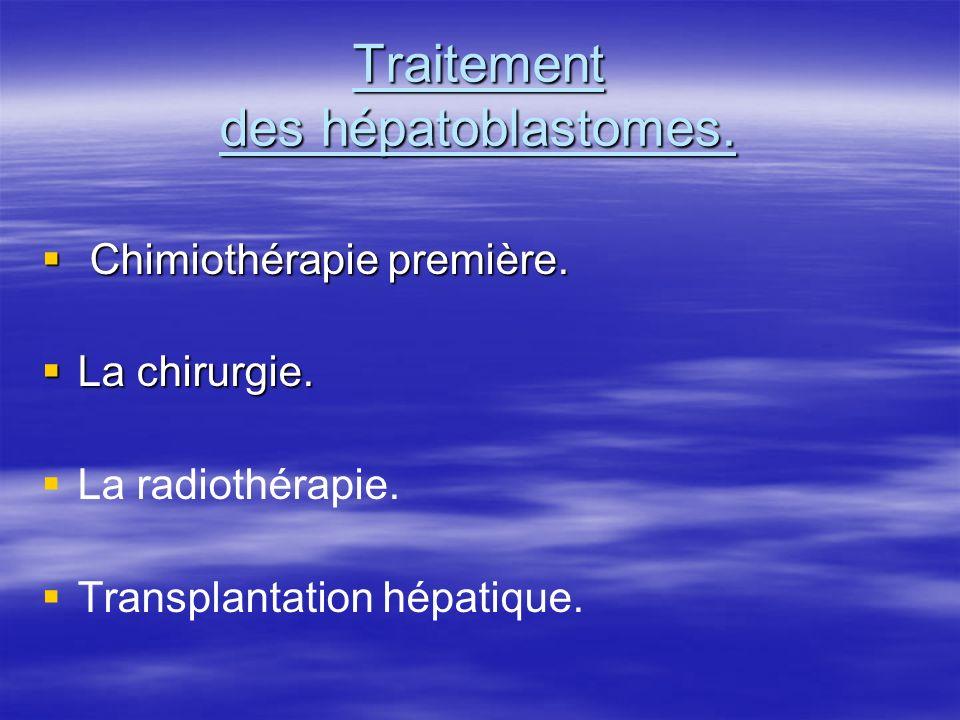 Traitement des hépatoblastomes. Chimiothérapie première. Chimiothérapie première. La chirurgie. La chirurgie. La radiothérapie. Transplantation hépati