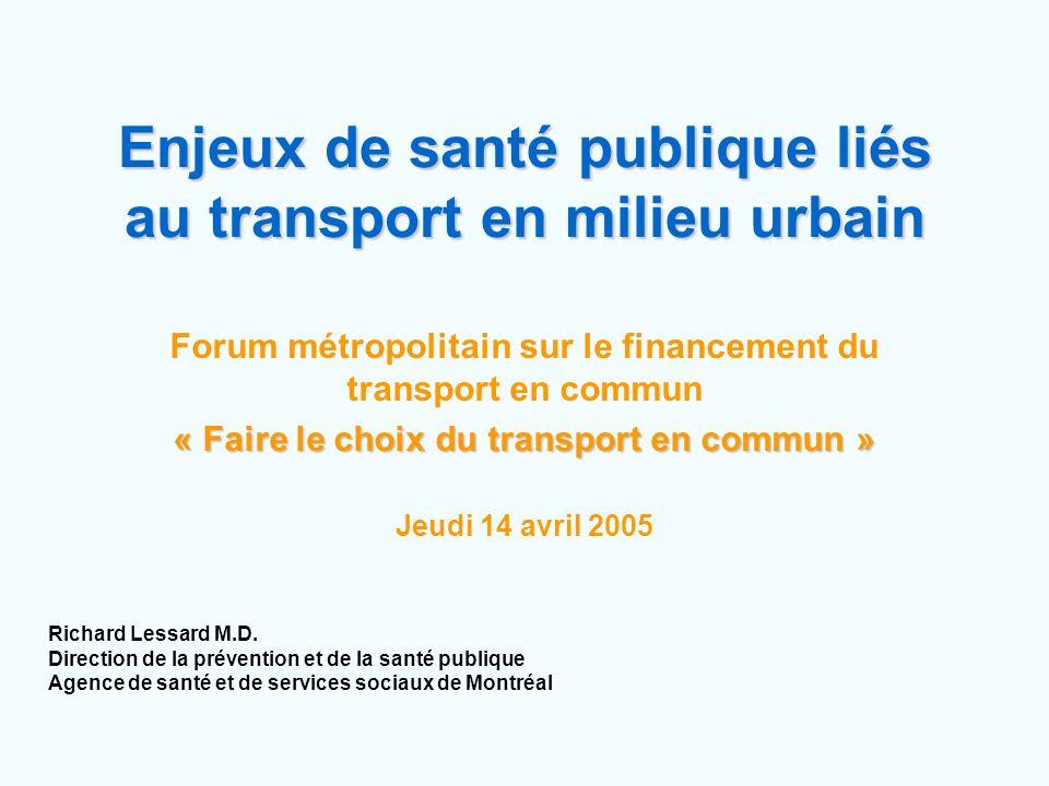 Enjeux de santé publique liés au transport en milieu urbain Forum métropolitain sur le financement du transport en commun « Faire le choix du transpor