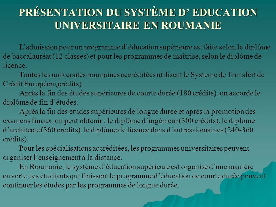 Ladmission pour un programme déducation supérieure est faite selon le diplôme de baccalauréat (12 classes) et pour les programmes de maîtrise, selon l
