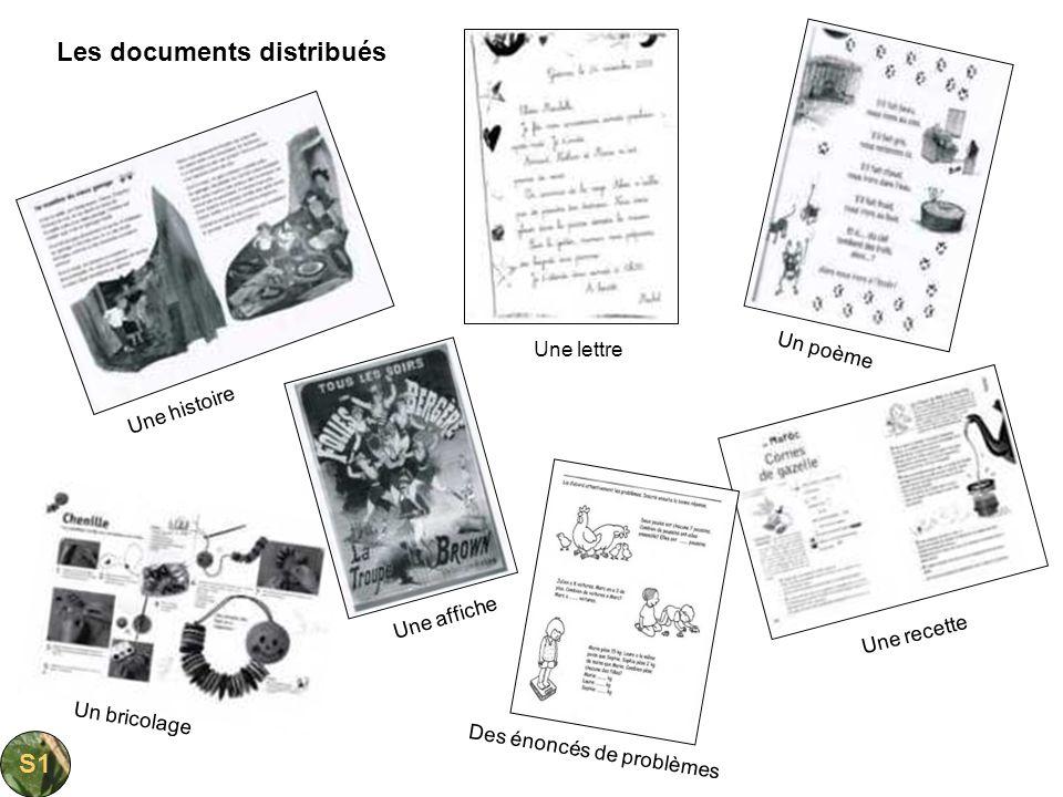 Les documents distribués Une histoire Une lettre Un poème Une recette Un bricolage Une affiche Des énoncés de problèmes S1