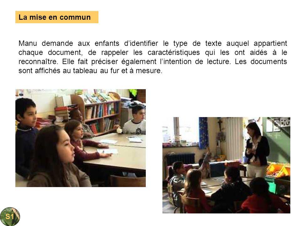 Manu demande aux enfants didentifier le type de texte auquel appartient chaque document, de rappeler les caractéristiques qui les ont aidés à le recon