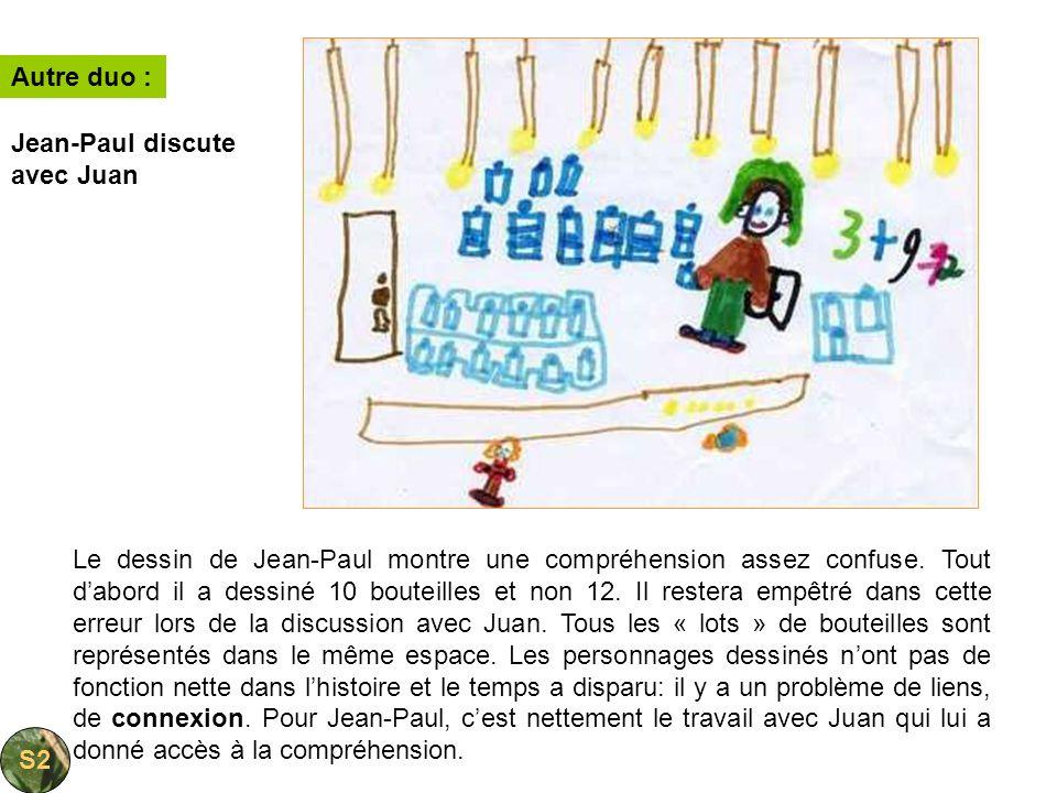 Le dessin de Jean-Paul montre une compréhension assez confuse. Tout dabord il a dessiné 10 bouteilles et non 12. Il restera empêtré dans cette erreur