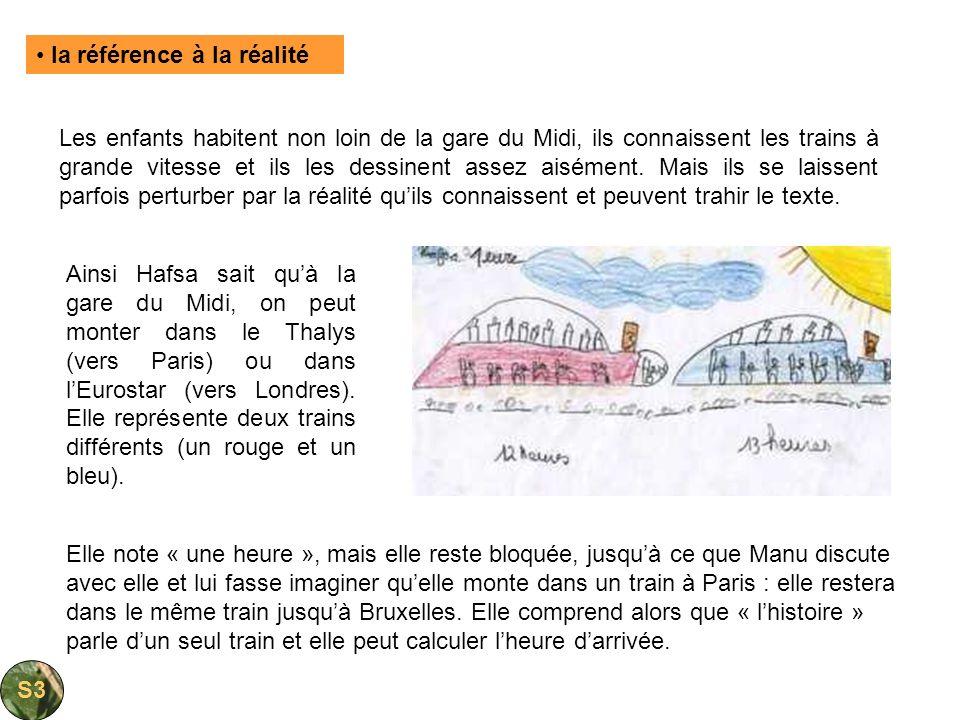 Les enfants habitent non loin de la gare du Midi, ils connaissent les trains à grande vitesse et ils les dessinent assez aisément. Mais ils se laissen