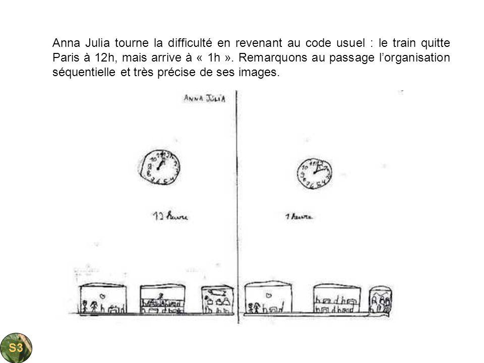 Anna Julia tourne la difficulté en revenant au code usuel : le train quitte Paris à 12h, mais arrive à « 1h ». Remarquons au passage lorganisation séq