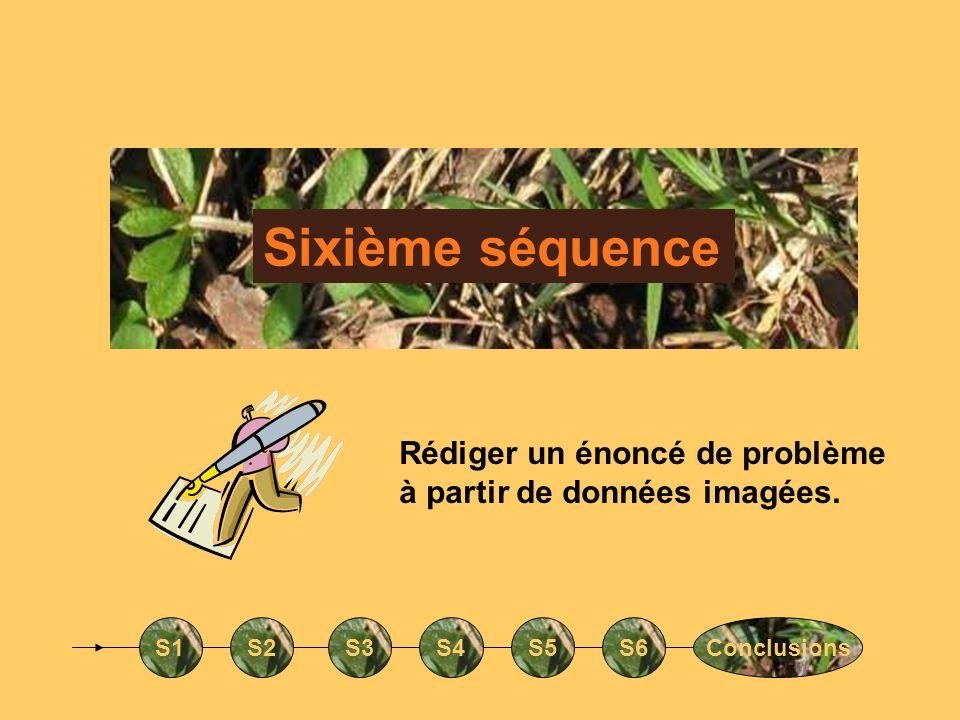 Sixième séquence S1S2S3S4S5S6Conclusions Rédiger un énoncé de problème à partir de données imagées.
