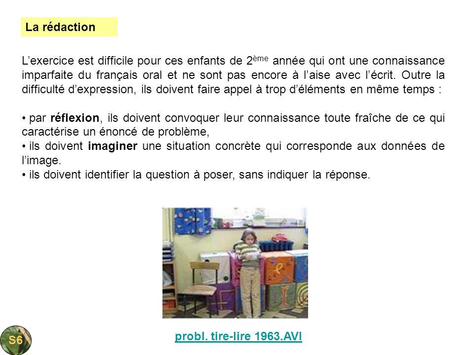 probl. tire-lire 1963.AVI Lexercice est difficile pour ces enfants de 2 ème année qui ont une connaissance imparfaite du français oral et ne sont pas