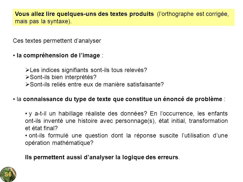 Ces textes permettent danalyser la compréhension de limage : Les indices signifiants sont-ils tous relevés? Sont-ils bien interprétés? Sont-ils reliés