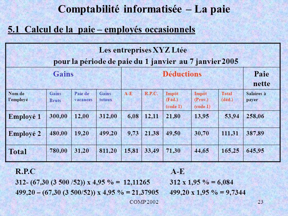 COMP 200223 Comptabilité informatisée – La paie 5.1 Calcul de la paie – employés occasionnels Les entreprises XYZ Ltée pour la période de paie du 1 ja
