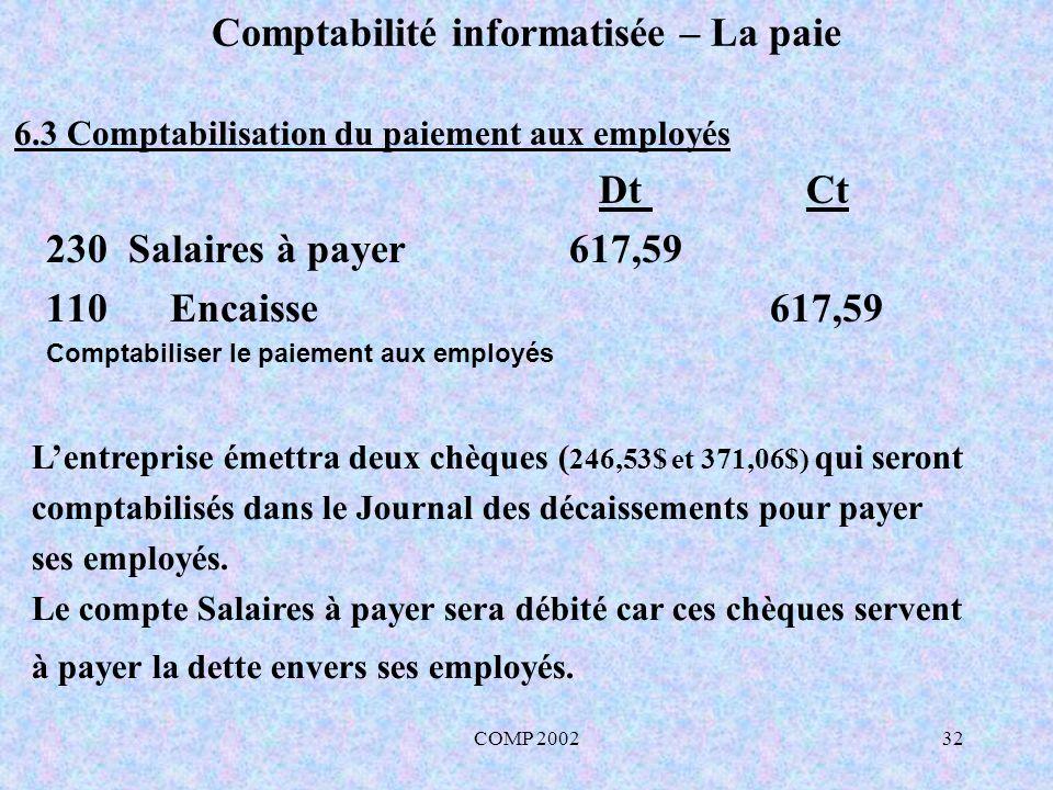 COMP 200232 Comptabilité informatisée – La paie Lentreprise émettra deux chèques ( 246,53$ et 371,06$) qui seront comptabilisés dans le Journal des dé