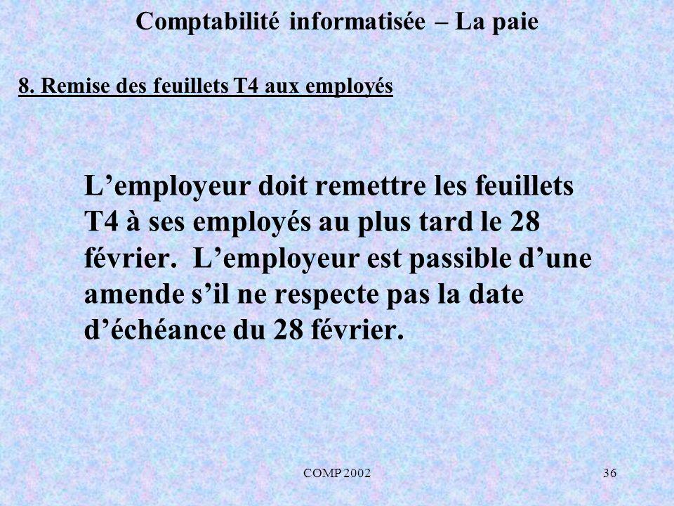 COMP 200236 Comptabilité informatisée – La paie Lemployeur doit remettre les feuillets T4 à ses employés au plus tard le 28 février. Lemployeur est pa