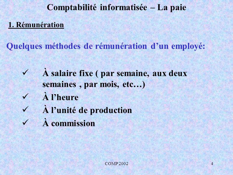 COMP 20024 Comptabilité informatisée – La paie À salaire fixe ( par semaine, aux deux semaines, par mois, etc…) À lheure À lunité de production À comm