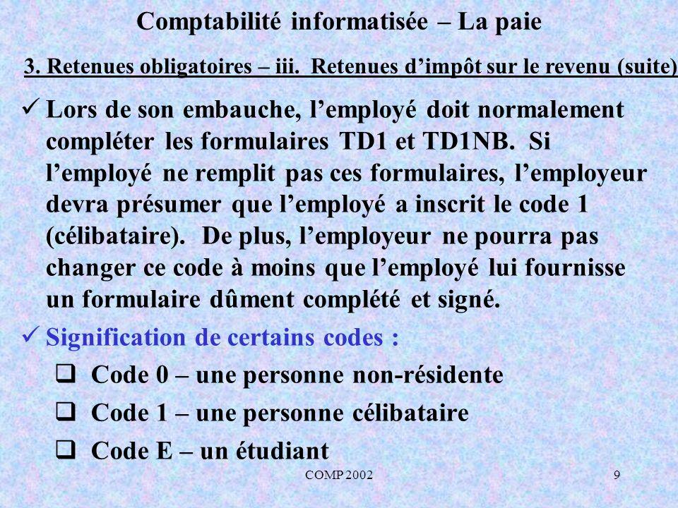 COMP 20029 Comptabilité informatisée – La paie 3. Retenues obligatoires – iii. Retenues dimpôt sur le revenu (suite) Lors de son embauche, lemployé do