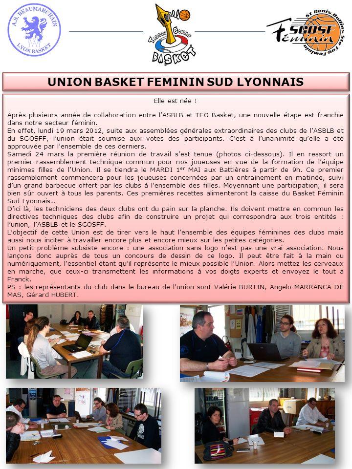 UNION BASKET FEMININ SUD LYONNAIS Elle est née ! Après plusieurs année de collaboration entre lASBLB et TEO Basket, une nouvelle étape est franchie da