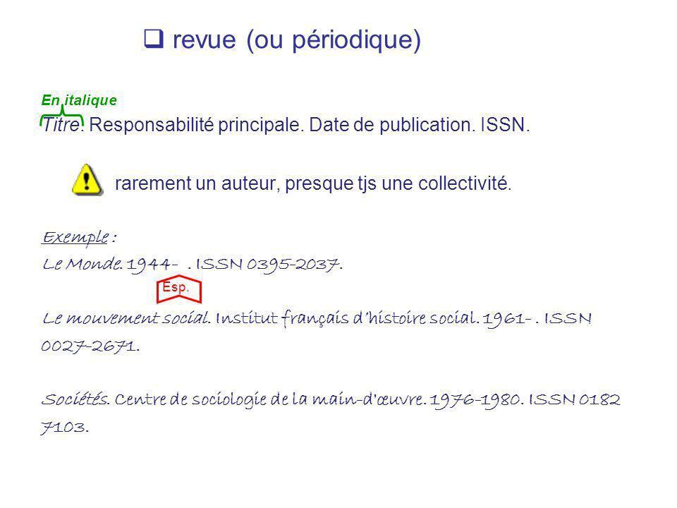 revue (ou périodique) En italique Titre. Responsabilité principale. Date de publication. ISSN. rarement un auteur, presque tjs une collectivité. Exemp