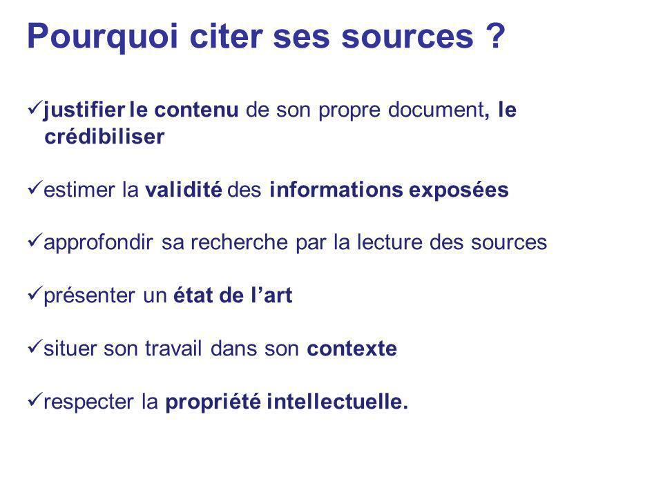 Pourquoi citer ses sources ? justifier le contenu de son propre document, le crédibiliser estimer la validité des informations exposées approfondir sa