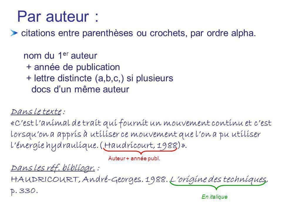 Par auteur : citations entre parenthèses ou crochets, par ordre alpha. nom du 1 er auteur + année de publication + lettre distincte (a,b,c,) si plusie